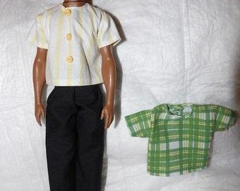 Basic black pants, yellow striped shirt & green plaid shirt set for male Fashion Dolls - kdc79