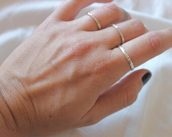 Hammered thin and delicate ring in sterling silver, textured, stackable ring