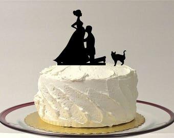MADE In USA, Pregnant Bride Wedding Cake Topper with Cat, Pregnant Wedding Topper, Silhouette Pregnancy Topper, Pregnant Baby Shower Topper
