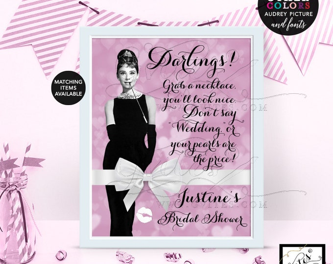 Customizable Bridal Shower Necklace Game Sign, Purple Lilac Breakfast Audrey Hepburn, games, Avail Size: 4x6, 5x7 & 8x10. Gvites
