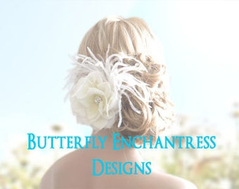 Bridal Hair Flower, Wedding Hair Accessory, Flower Hair Clip - Ivory Natalia Rose Flower Feather Hair Clip