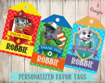 Personalized Paw Patrol Favor Tags- Paw Patrol Thank You Tags-Digital File