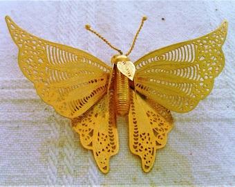 Vintage Filigree Goldtone Butterfly Brooch and Pendant
