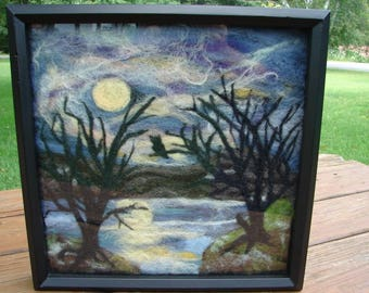 Needle Felted Painting, Needle Felted Wool Painting, Wool Painting, Felted Picture, Wool Picture, Felted Painting, Wall Decor