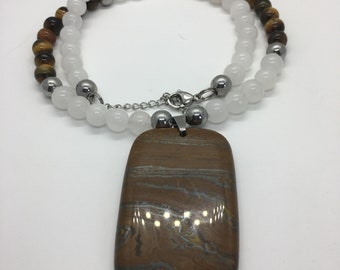 Tigerseye Rectangular Pendant Necklace