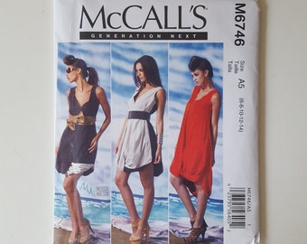 McCall's 6746, M6746, Sizes 6,8,10,12,14, Generation Next Pattern, Misses' Loose Fitting Pullover Dress, Twisted Hemline, UNCUT, Sleeveless