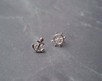 Ear plug anchor wheel 925 sterling silver