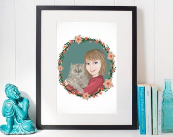 Custom Portrait With Pet /Personalized Portrait / Painting from Photo/ Digital Drawing / Custom Art