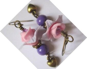 """Metal BRONZE """"In pink and purple"""" earrings"""