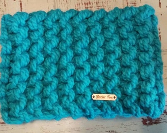 Knitted Cowl Scarf / Sassenach Outlander Highland Knits Series / Blue Turquoise / Neckwarmer Comfy