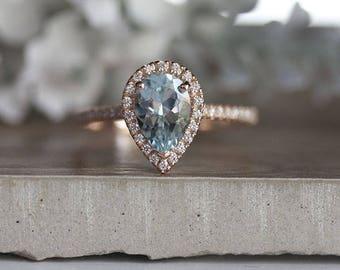 Pear 9x6mm Natural Aquamarine Engagement Ring, 14k Rose Gold Aquamarine and Diamond Halo Ring, Bridal Ring, Rose Gold Wedding Ring, Promise