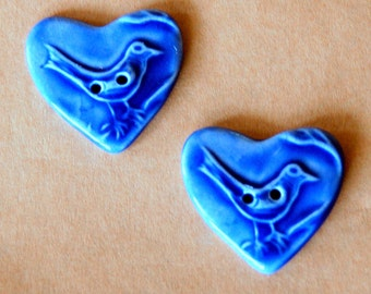 2 Sweet Ceramic Bird in a  Heart Buttons