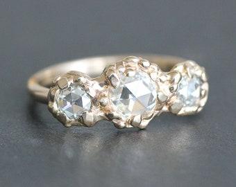 Rose-Cut Moissanite Three-Stone Ring - OOAK Organic Design - Ethical Engagement - Diamond Alternative - (Size 9.5 / Resize)