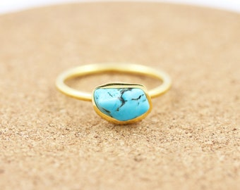 Gold Vermeil  Turquoise Nugget Ring | Raw Turquoise |Boho | Bohemian Gemstone Ring | December Birthstone Ring | Saggitarius & Cappricorn