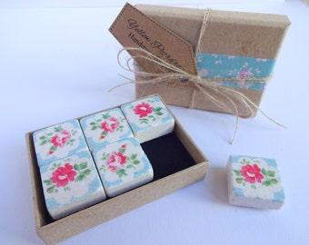 Fridge Magnets - Blue flowers