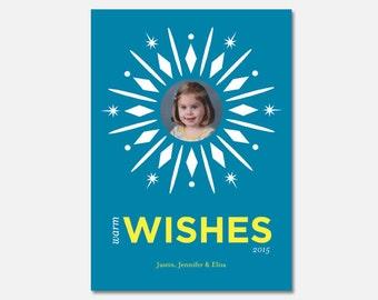 Warm Wishes Holiday Card, Snowflake Holiday Card, Winter Holiday Card, Custom Holiday Card, Printable Holiday Card, Flying Pinwheel