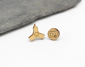 Juno and Jupiter Stud Earrings   Laser Cut Space & Science Jewellery   Planets