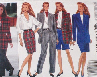 Evan Picone Pattern - Misses/Misses Petite Lined Jacket, Straight Skirt, Shorts and Pants - Butterick 6405 - Sizes 12-14-16, Bust 34 - 38
