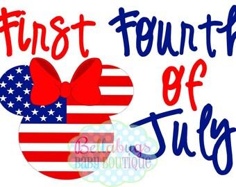 Premier quart de juillet fer transfert - Amérique - Minnie Mouse - jour de l'indépendance