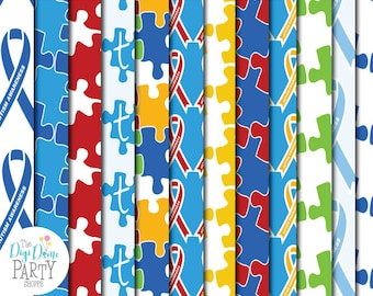Autism Digital Scrapbooking Papers, Proceeds to Charity. Instant Download