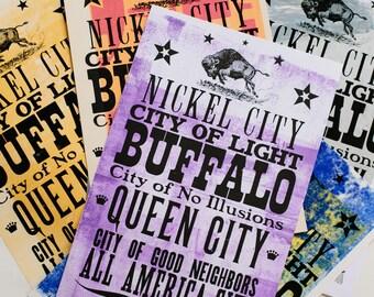 Buffalo Nicknames Letterpress Ink-wipe Print