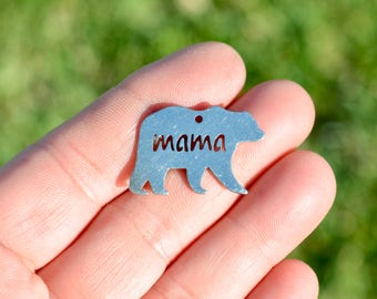 5 Stainless Steel Mama Bear  Charms SC5256