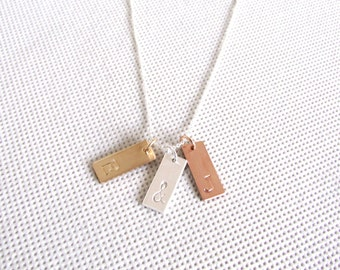 Mixed Metal Initial Necklace, Gold Initial Necklace, Rose Gold Custom Jewelry, Three initials, Gold and Silver Jewelry,