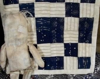 Primitive Doll Quilt  Antique Blue Quilt Blocks