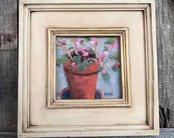 Original Oil Painting Plein Air Locke California Chinese Clay Pot Geraniums Flowers Potted Plant Art Original Artwork California Artist USA