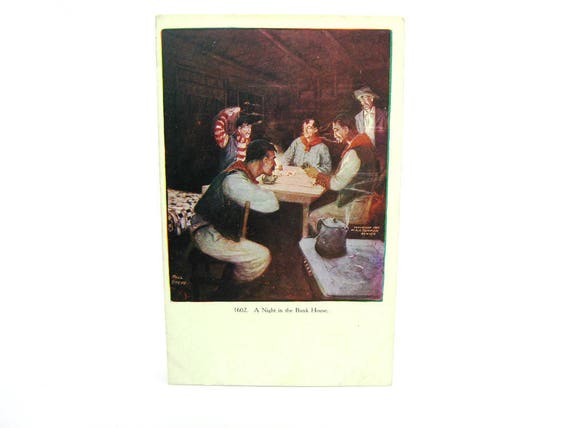 Antique Cowboys Postcard Old West A Night in the Bunkhouse