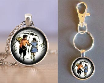 Chronicals of Narnia - One Inch Round Glass Pendant - Choice of Necklace or Keychain