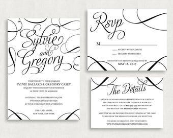 Wedding Invitation and RSVP Card (Sylvie) -Digital File, PDF, DIY, Printable, Calligraphy, Script, Black and White, Modern, Classic, Printed