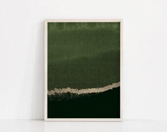 Forest Green Print, Abstract Print, Sage Green Art, Gold, Modern Art Decor, Green Wall Art, Dark Green Art, Olive Green, Wall Prints