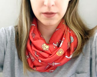 Tabletop RPG Pattern Infinity Scarf - Red Winter Scarf / Dungeons and Dragons Inspired / D20 RPG Scarf / Roleplay Lover Gift