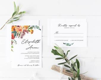 Printable Wedding Invitation Suite / Wedding Invite Set - Printable Wedding Invitation - Wedding Invitation Set - Love Story