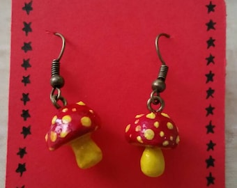 Red and Yellow Toadstool Earrings Cute and Quirky Girlie Gift Ideas