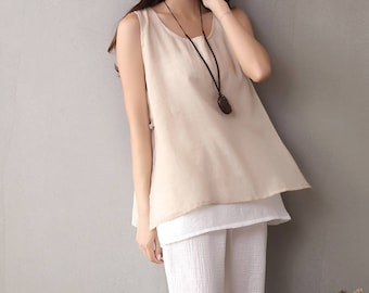 Women cotton and linen vest – wild loose cotton and linen vest