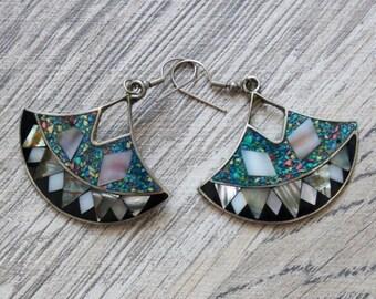 ALPACA MEXICO Gypsy Vintage Silver Abalone Shell Mother Of Pearl Teardrop Boho Dangle Earrings