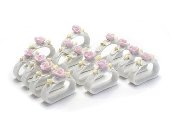 14 Vintage Bone China Flower Place Settings Napkin Rings Porcelain Cardholders Spring Summer Wedding Pale Pink Blush Glass Seat Card Marker