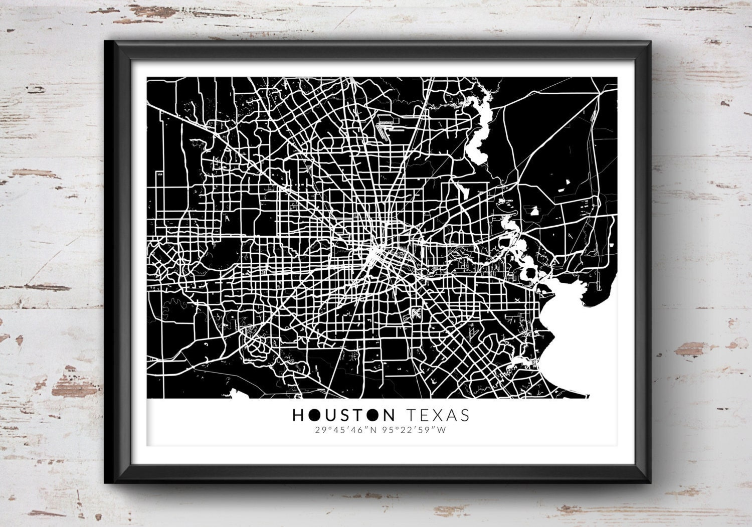 Houston Chicago Map%0A HOUSTON Map with Coordinates Houston Map Map Art Map Print
