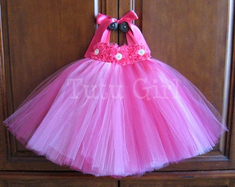 Hot Pink Flower Girl Dress Bright Pink tutu dress baby toddler birthday dress wedding dress Newborn, Hot Pink Tulle Dress