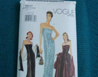 Vogue Pattern 9947 Womens strapless dress sz 8