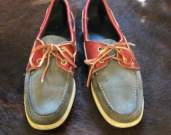 Two tone grey and brown boat shoes Docksides