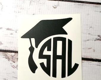Graduation capuchon vinyle monogramme Sticker Decal Graduation personnalisé Graduation cadeau High School College vinyle autocollant