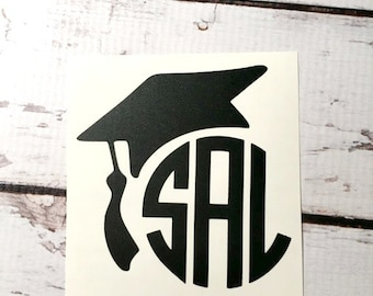 Graduation Cap Vinyl Monogram Decal Graduation Sticker Personalized Graduation Gift High School College Vinyl Decal