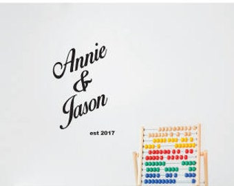 Custom name wall decal Personalised Couple Names wall sticker