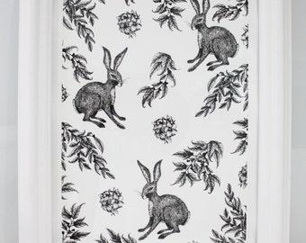 Hare Print, Pen and Ink Drawing, Rabbit Illustration, Nature Art, Black White Art, Rabbit Giclee Print, Hare Print, A4 Rabbit Drawing