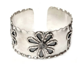 Floral Wide Sterling Silver Cuff Bracelet, Handmade Art Solid Silver Bohemian Statement Cuff Bracelet, adjustable, Semi Shiny finish