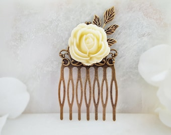 Ivory Hair Comb - Bridal Hair Accessory Floral - Rose Hair Comb - Wedding Hair Comb Ivory - Victorian Hair Comb - Vintage Hair Comb H2047