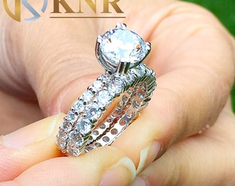 Large Women's 14k white gold round cut forever one moissanites engagement ring and band eternity Bridal Wedding Prong Set 5.50ctw